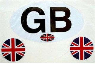 GB Great Britain Decal Car Sticker with 2 Miniature Union Jack Sticker