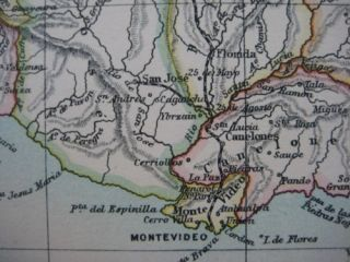 Original 1888 Railroad Map Uruguay Montevideo Durazno San Jose Salto
