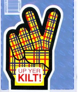 Up Yer Kilt Scottish Humour Scotland Funny Decal Car Sticker