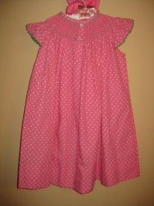 Kellys Kids smocked bishop dress, size XXS/2t NWOT Hot pink dress