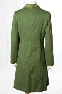 Marc Jacobs Kelly Green Gold Embroidered Mod Car Coat Evening Jacket