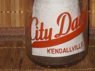 Half Pint Glass Milk Jar Kendallville Indiana Neat Logo RARE