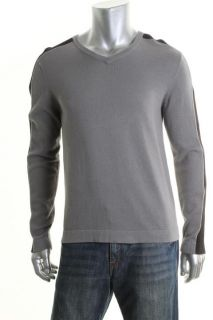 Kenneth Cole New Gray Ribbed Long Sleeve V Neck Pullover Sweater M