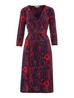 Dickins & Jones Ladies Pintuck Floral Jersey Dress Navy