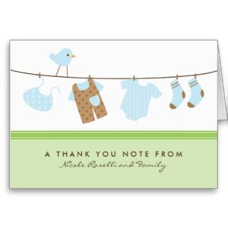 Its a Boy Baby Laundry Thank You Card (green)