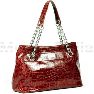 Kenneth Cole Reaction Cute Quilt Red Large Croco Tote Handbag MSRP $