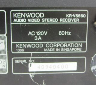 Kenwood KR V5560 Audio Video Stereo Receiver Powered On