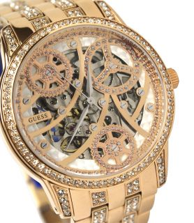 Guess U30003L1 rose gold tone skeleton dial rose gold tone stainless
