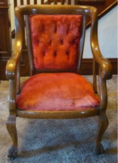 Tiger Oak Parlor Set w Red Velvet Upholstery Settee Armchair Rocking