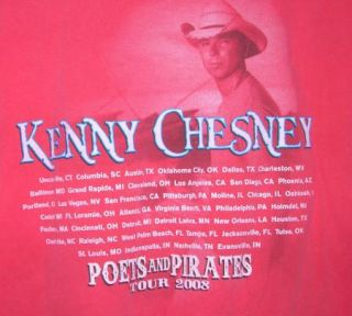 Official Kenny Chesney Poets and Pirates 2008 Tour T Shirt ~ Size 2XL