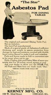 1911 Ad Asbestos Pad Dining Table Kerney Chicago Cotton   ORIGINAL