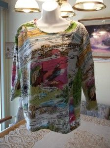 Keren Hart Darling Multicolored Exotic Designs 3 4 Sleeve Knit Top M