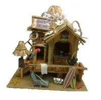 Kevins Tiki Hut Design Hanging Wooden Bird House