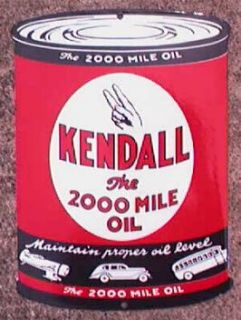 Kendall Oil Can Porcelain Overlay Metal Sign NR