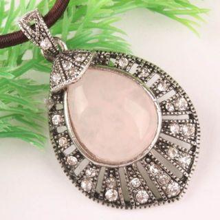 Rose Quartz Gemstone Bead Tibetan Silver Pendant 1P