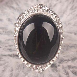 Black Onyx Agate Gemstone Oval Bead Finger Ring Size 9