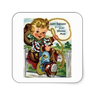 Little Cowboy   Retro Happy Birthday Card Square Stickers