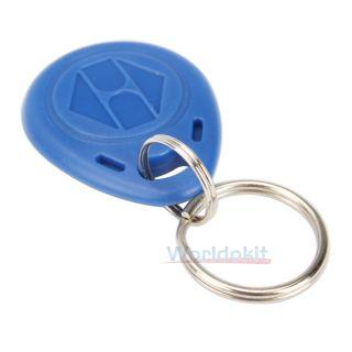 Plastic 125kHz RFID ID Proximity Card Keychain Keyfobs Token Key Blue