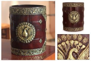 Peacock Wood Brass Storage Container Trash Bin India Novica