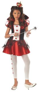04036 New Queen of Hearts Cute Red White Girls Kids Halloween Costume