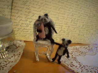 Doll House Panda Bear Miniature Family Artist Teddy Bear OOAK Vintage