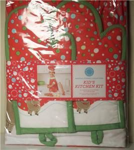 Martha Stewart Kids Kitchen Kit Apron Chef Hat Oven Mitts Christmas