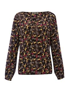 Biba Feather print silk blouse Multi Coloured