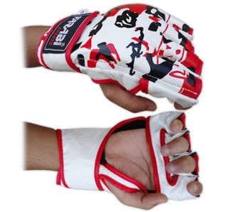 MMA Grappling Mix Boxing Fight Cage Fight Gloves Real Cowhide Leather