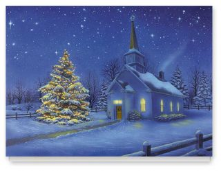 Country Church Christmas Card Set 20 by Miles Kimball