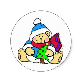 Cute Bear Merry Christmas Sticker