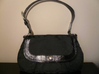 Coach Black Signature Hobo Style Flap Shoulder Purse Bag