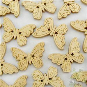 20 Pcs Cute Wood Butterfly Buttons Lot Craft Kids B