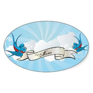 Mom Tattoo Swallow Birds and Banner Sticker