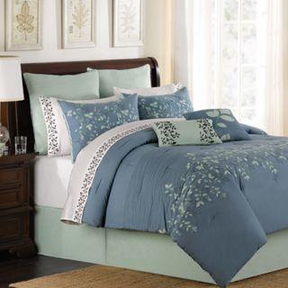 Spring Lake Blue Oversize King 8 Piece Comforter Bed in A Bag Set New