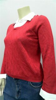 Kim Rogers Womens Petite PXL Knit Collared Pullover Sweater Red