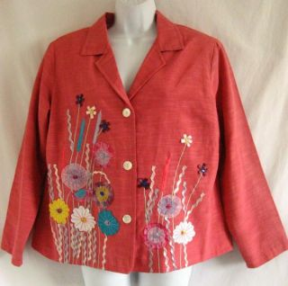 Alex Kim Pink Floral Emroidered Ribbon Applique Sequins 1x Rayon