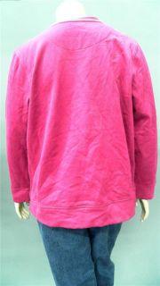 Kim Rogers Womens Plus 1x Crew Sweatshirt Fuchsia Pink Solid Designer