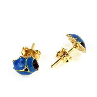 Gold 18K GF Earrings Kids Girl Baby Blue Lady Bug Toddler Enamel