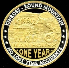 ONE OUNCE .999 SILVER ROUND KINROSS ROUND MOUNTAIN JOINT VENTURE WITH