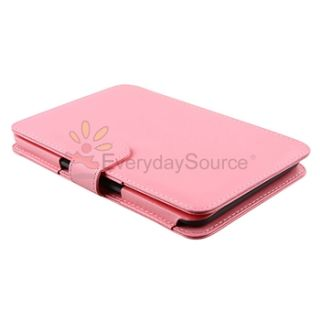 Pink Genuine Leather Case Cover for Ebook  Kindle 3 3G Keyboard