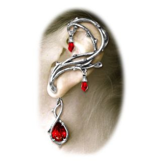 Gothic Bramble of Thorns Passion Earring Swarovski Crystal Blood