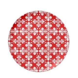 Elegant fleur de lys damask Christmas Plates