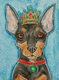 King MIN Pin Miniature Pinscher Dog Watercolor Art Yupo Painting