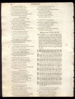 1613 King James Quarto Bible Psalter Leaf RARE Psalms with Musical