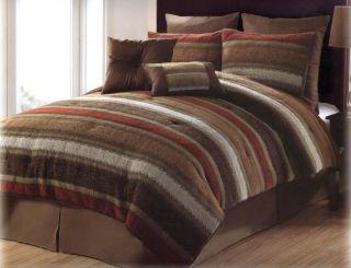 Classics Tacoma Chenille Stripe Comforter Set King Red/Brown/Tan