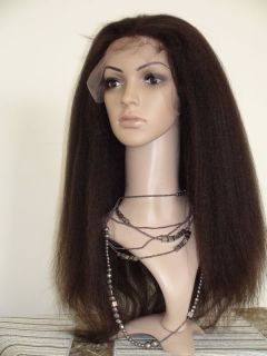 18 Kinky Straight India Remy Human Hair Lace Wigs 1B