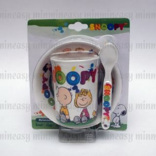 Snoopy Kids Childrens Plastic Cup Bowl Spoon Set W