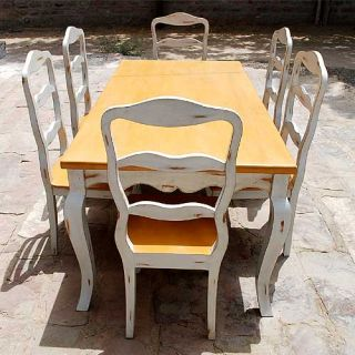 Painted 7pc Kitchen Dining Table Chair Set 6 People Furniture