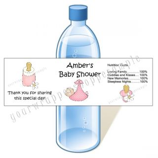 Personalized Baby Shower Water Bottle Labels Waterproof Boy Girl Twins
