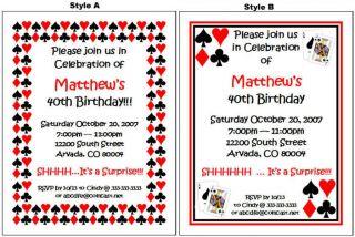 Vegas Gambling Casino Birthday Party Personalized Invitations